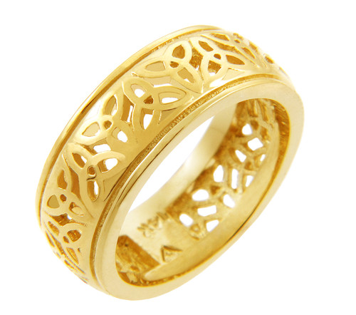 Gold Celtic Trinity Knot Ring and Celtic Wedding Band.  Available in your choice of 14k or 10k gold.