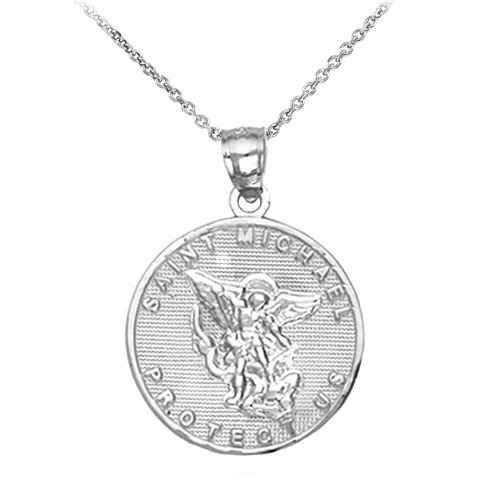 Saint Michael Silver Coin Pendant Necklace