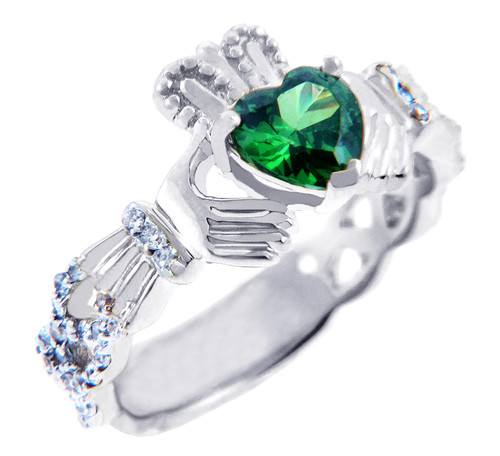 White Gold Diamond Claddagh Ring 0.40 Carats w/ Emerald CZ