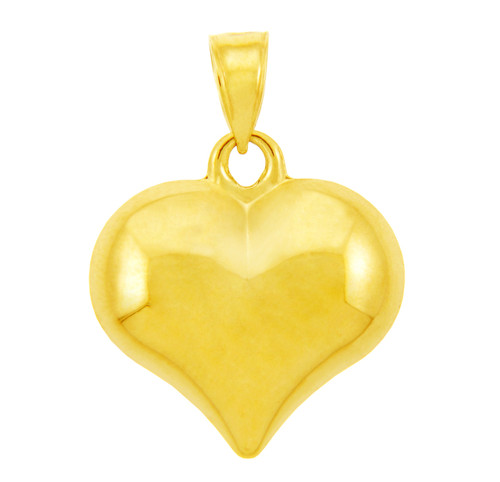 14K Yellow Gold Heart Pendant 1 inch
