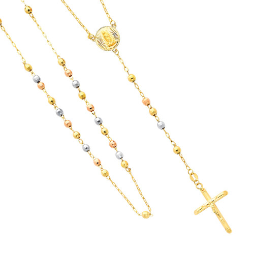 TriColor Gold Rosary Necklace The Madonna