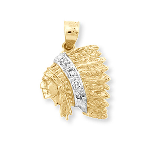 Gold indian chief head pendant cz indian chief head pendant gold indian chief head with cz in 10k or 14k yellow gold aloadofball Image collections