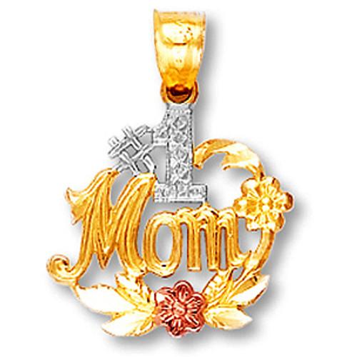 Tri-Tone Gold #1 Mom Pendant