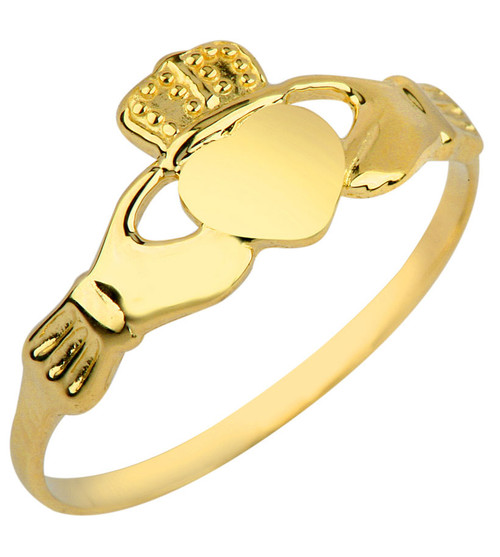 Gold Ladies Claddagh Ring.  Available in 14k and 10k.