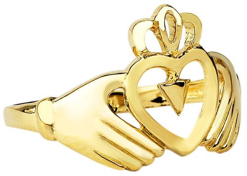 Ladies Claddagh Gold Ring.  Available in your choice of 14k or 10k Gold.