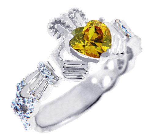 18K White Gold Diamond Claddagh Ring With 0.4 Ct  Citrine