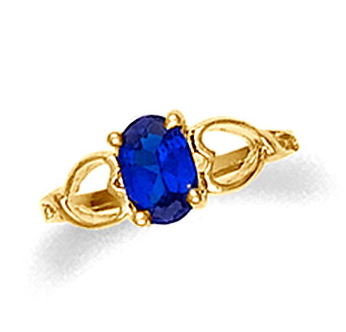 Baby Sapphire Ring with Hearts