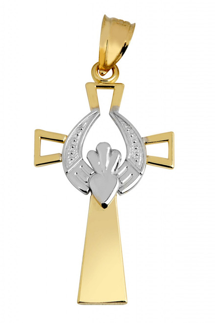 Gold Claddagh Cross With White Gold Pendant