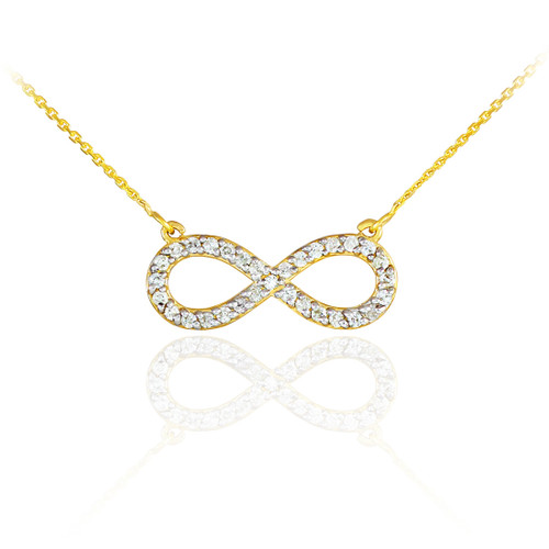 14K Gold Diamond Infinity Pendant Necklace