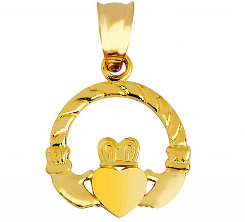 Gold Claddagh Irish Pendant