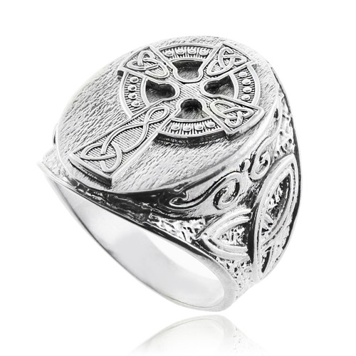 Silver Celtic Cross Trinity Knot Ring