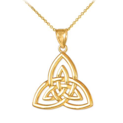 Gold triquetra trinity knot pendant gold triquetra trinity knot pendant necklace aloadofball Image collections