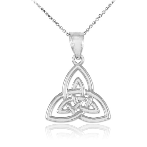 White gold celtic knot charm triquetra pendant necklace mozeypictures Image collections