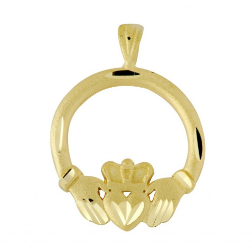 Claddagh Gold Diamond Cut Pendant