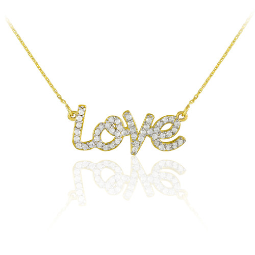 "14K Gold ""Love"" Diamond Necklace"