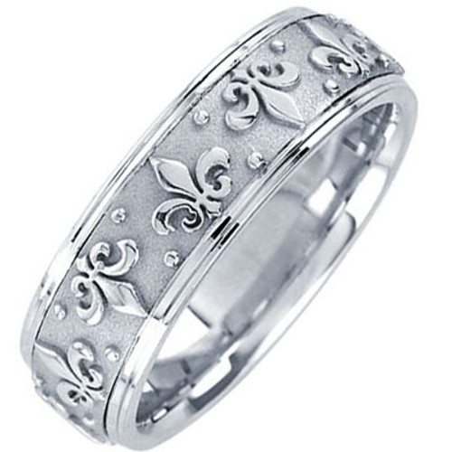14k White Gold Fleur de Lis Wedding Band 7MM