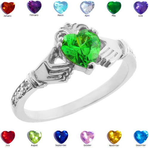 Sterling Silver Claddagh CZ Birthstone Ring