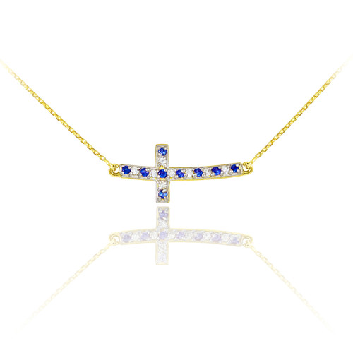 Sideways Curved Cross Necklace: 14K Gold Cute Sideways Curved Cross Blue And Clear CZ Necklace