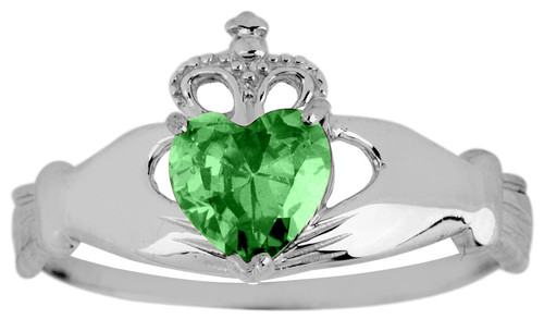 White Gold Claddagh Ring Ladies with Emerald Birthstone.  Available in your choice of 14k or 10k White Gold.