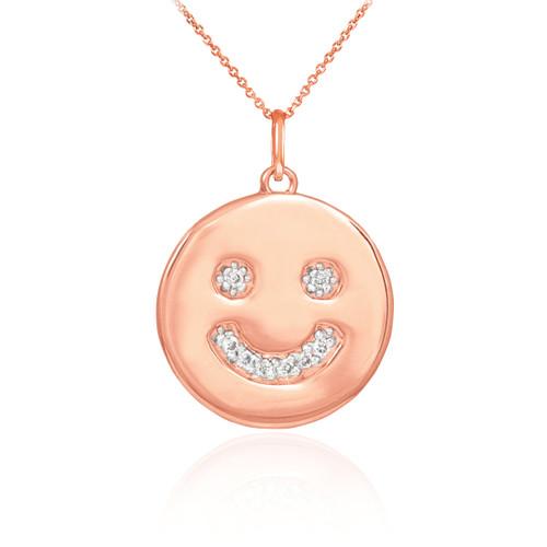 Face Pendant Smiley face necklace smiley face pendant 14k rose gold smiley smiley face disc pendant necklace with diamonds in 14k rose gold audiocablefo