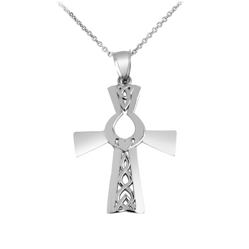Irish White Gold Cross With Claddagh Pendant Necklace