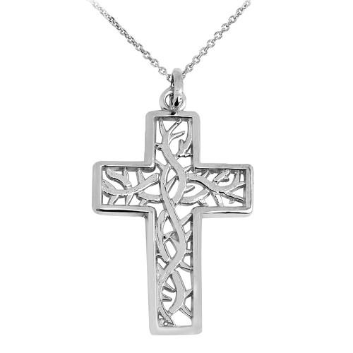 White Gold Celtic Trinity Cross Pendant Necklace