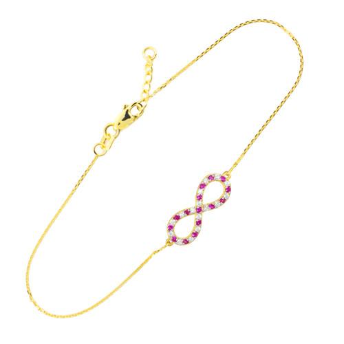 14K Gold Diamond and Ruby Infinity Bracelet