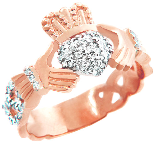 Rose Gold Diamond Pave Claddagh Unisex Ring (0.50 carat)
