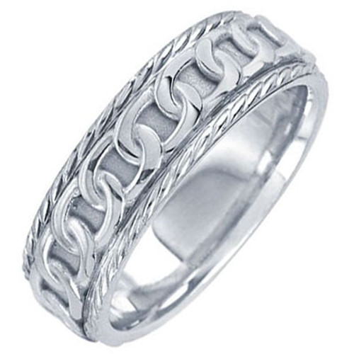 18k White Gold Celtic Chain Wedding Band (7 mm)