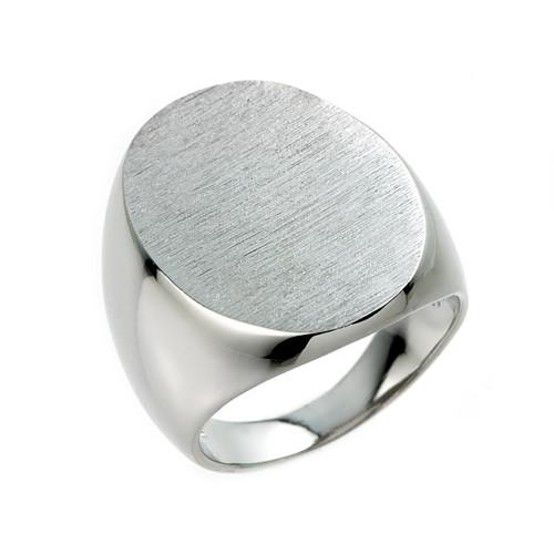 Sterling Silver Large Oval Signet Men's Ring