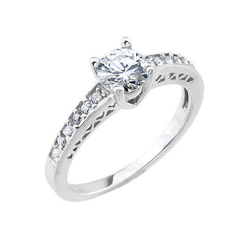 10k White Gold Round CZ Solitaire Engagement Ring