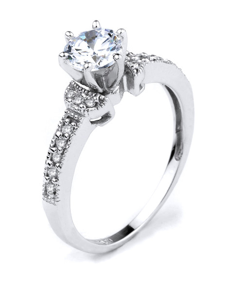 10k White Gold CZ Solitaire Engagement Ring