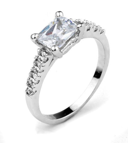 10k White Gold Emerald Cut CZ Engagement Ring