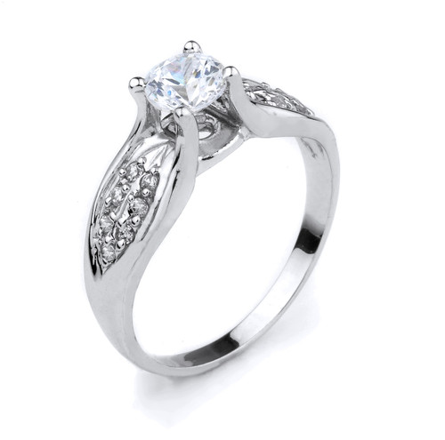 10K White Gold Round C.Z. Engagement Ring