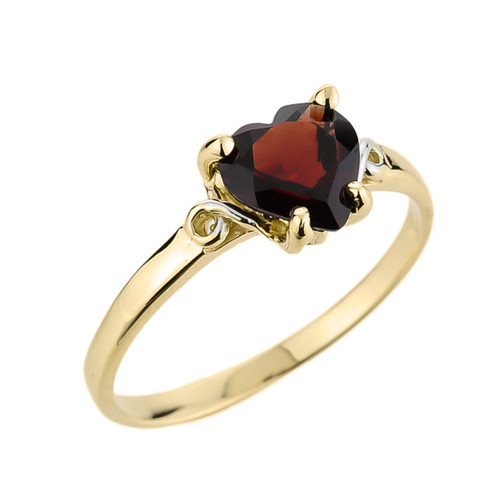10k Gold Ladies Heart Shaped Garnet Ring
