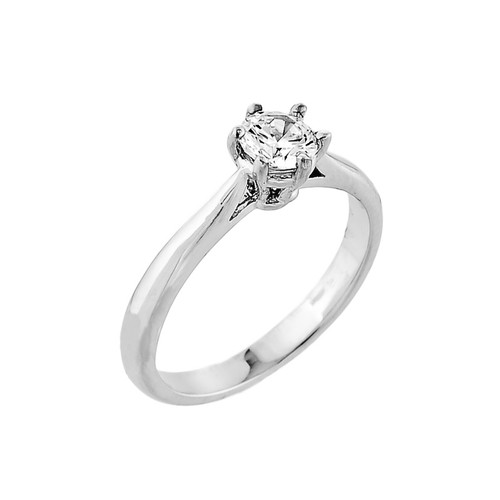 10K White Gold Classic CZ Solitaire Engagement Ring