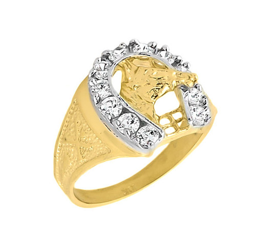 10k Gold Men's White Topaz Horseshoe Ring