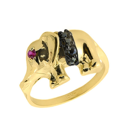 10k Gold Black Onyx and Red CZ Elephant Ring