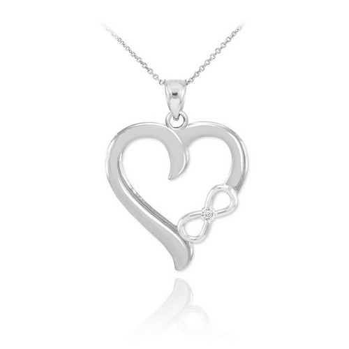 White gold infinity heart diamond pendant necklace aloadofball Image collections