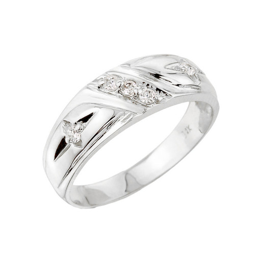 Men's White Gold Diamond Wedding Band