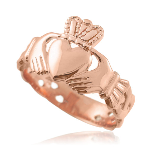 Rose Gold Mens Claddagh Trinity Band Ring