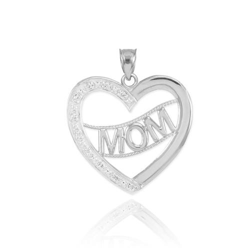 14k white gold diamond half studded mom heart pendant necklace aloadofball Choice Image