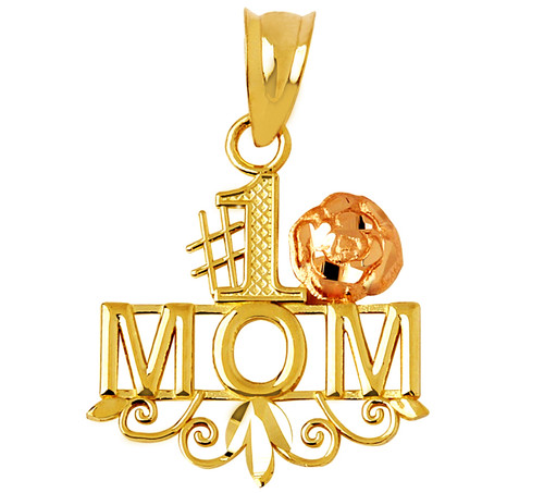 #1 Mom pendant in two-tone yellow and rose gold.
