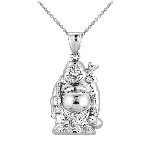 Sterling silver laughing buddha pendant buddha buddhist pendant silver laughing buddha pendant necklace aloadofball Image collections