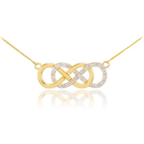 14k Gold Diamond Double Infinity Necklace