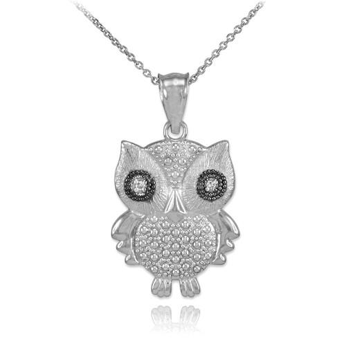 White gold owl pendant with diamonds white gold owl pendant necklace with diamonds aloadofball Gallery