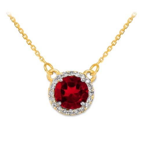 14k Gold Diamond Ruby Necklace