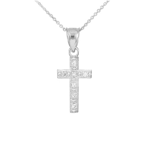 White gold small cross pendant necklace with diamonds cross white gold small cross pendant necklace with diamonds aloadofball Gallery