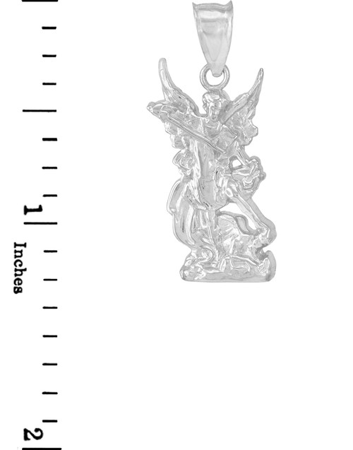 Polished white gold st michael pendant necklace aloadofball Gallery