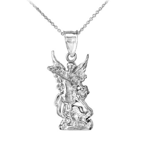 Polished white gold st michael pendant necklace aloadofball Choice Image